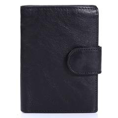 Vintage Men Wallet Genuine Leather Short Wallets Male Cowhide Purse Coin Pocket Card Holder black one size
