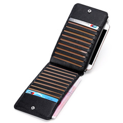 Business Card Holder Genuine Leather Long Credit Card Bag Multi-functional Mobile Phone Pouch Wallet black one size