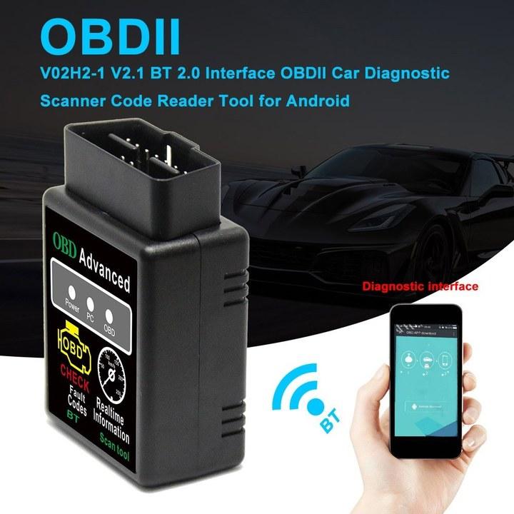 V02H2-1 V2.1 BT 2.0 Interface OBDII Car Diagnostic Scanner Code Reader Tool for Android black one size