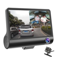 4 Inch 3 Lens 1080P Car DVR Camera Video Driving Recorder with Night Vision black one size