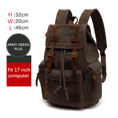 Men 17 Inch Laptop Backpack Computer School Backpack Vintage Canvas Large Capacity Travel School Bag army green PLUS