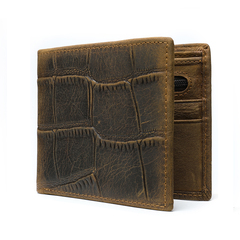 Men Genuine Leather Wallet Money Coin Holder Short Cards Wallets Crocodile pattern Purse Thin Clutch coffee one size