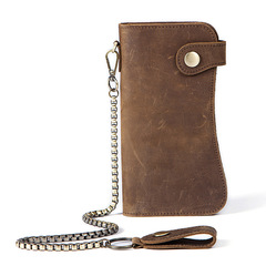 Men Wallet Genuine Leather Purse Long Style Wallet Clip Soft Money Clips Bankcard Holders with Chain brown one size