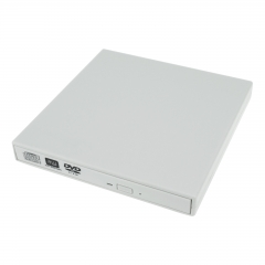 External USB DVD DL CD Burner Writer Portable Drive Disc Reader Laptop PC Player white as picture