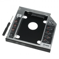 12.7mm HDD Caddy 2.5 inch SATA Hard Disk Drive SSD For Laptop Optical Dirve Bay black as picture