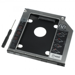 """9.5mm HDD Caddy 2nd 2.5"""" SATA SSD Aluminum Adapter For Laptop DVD CD Drive Bay black as picture"""