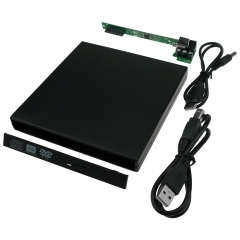 USB 2.0 Opitcal Drive Enclosure For 12.7mm Internal SATA DVD CD RW Burner Player black as picture