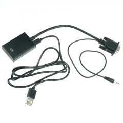 VGA Male Video 3.5mm Audio PC To HDMI Female Converter Cable HD 1080P AV Adapter