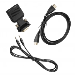 VGA to HDMI 1080P Converter Adapter + 1.5M Video Cable + 3.5mm Audio Male Cord