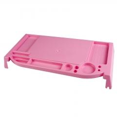 Desktop Monitor LCD Stand Riser Mount Organizer Multi Holes Storage Pink Plastic