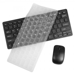 Ultra Thin 2.4GHz Wireless Computer Keyboard Mini Mouse Combo Set Bundle Keypad Protector Black One Size