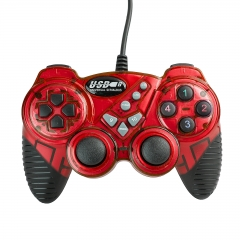 USB Wired Gamepad DMC Controller Joystick Double Shock for Laptop Computer red one size
