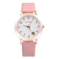 Watch Male Student Girl Junior Middle School Teenager Mechanical LED Alarm Clock Intelligent Sqb Digital bear pattern pink As picture