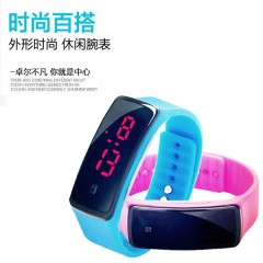 Hot Selling Led Two Generation Of Silica Gel Electronic Wrist Watch Children's Male And Female white As picture