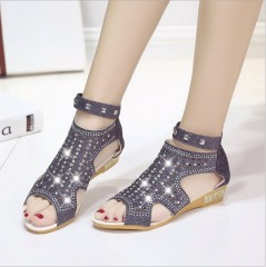 Women 2018 Casual Rome Summer Shoes Fashion Rivet Gladiator Sandals Beige 36