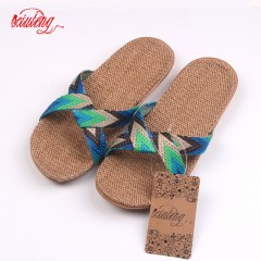 2017 Fashion Flax Home Slippers Indoor Floor Shoes Cross Belt Silent Sweat Slippers For Summer Women Blue 5