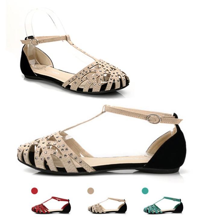 b018e93c0 2018 fashion women Flat sandals rhinestone cutout summer shoes High quality  closed toe ladies shoes red