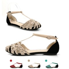 2018 fashion women Flat sandals rhinestone cutout summer shoes High quality closed toe ladies shoes beige sandal 35