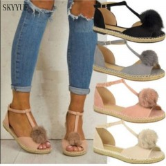 2018 shoes Women sandals women Summer shoes flat Shoes Roman gladiator sandals mujer sandalias Black 5.5