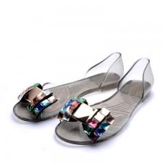 2018 Summer Sandals Women Casual Bowtie Shoes Fashion Jelly Shoes Transparent PVC Flat Shoes Woman black 5.5
