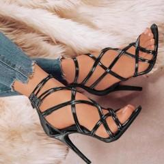 2018 Strap Sandals Summer Dress Shoes Women's High Heel Shoes High Thin Strap Heels black 35
