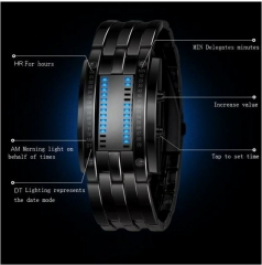 Skmei Classic Korean Version Binary LED Watch All Steel Tidal Movement Watch Male Flush Bath Large black As picture