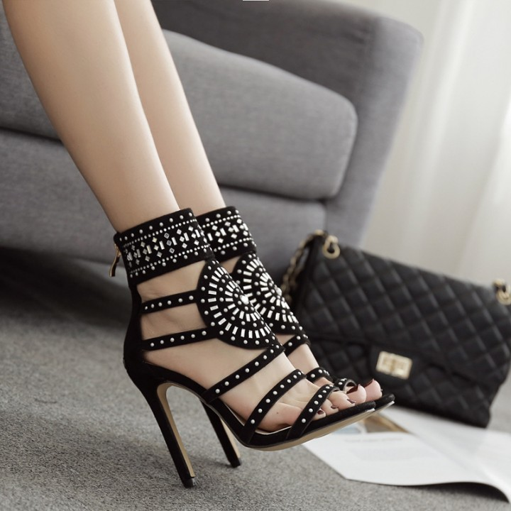 Women Sandals High Heels Sexy High Heel Women Pumps Summer Party Shoes Women SWC0032 black 4