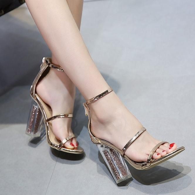 7acb303e95b Women Gold Sandals Crystal Transparent Clear Block Thick High Heel Sequined  Shoes Gold 38