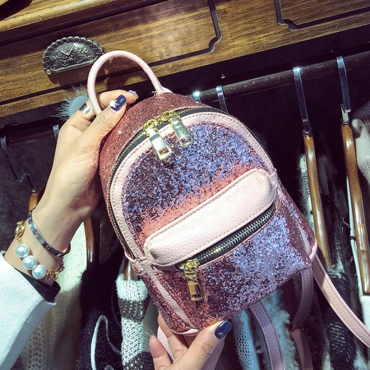 cf8517d8b42f fashion Women's Sequins Pu Leather Backpack children mini Bag small back  pack for teenage girls Black