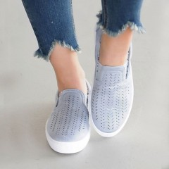 Hollow Breathable Summer Women Flats Solid Casual Canvas Shoes woman sneakers comfortable Slip-on pink 4.5