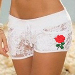 New Summer Popular Women's Sexy Elastic Floral Shorts Sheer Lace Applique Floral Hollow Out Casual Hot Shorts