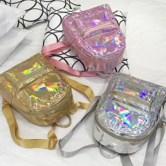 Silver Gold Pink Laser Backpack women girls Bag leather Holographic Backpack   school bags for teenage girls