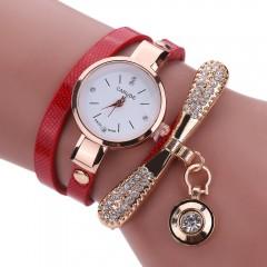 Women Watches Fashion Casual Bracelet Watch Women Relogio Leather Rhinestone Analog Quartz Watch Beige