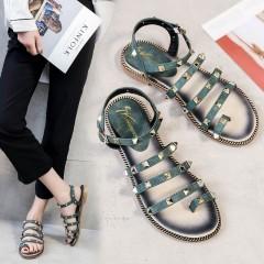 2018 Women Sandals Rivet Slippers Beach Slides Flat Heels Summer Women Shoes Party Gladiator Sandals black 4.5
