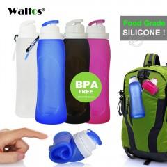 500MLCreative Collapsible Foldable Silicone drink Sport Water Bottle Camping Travel bicycle bottle rose red