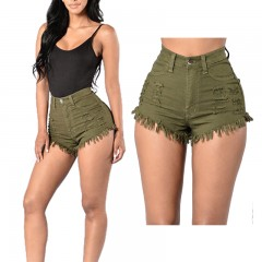 Women Hot Style High Waist Denim Shorts Fashion Short Jeans for Women Beach Casual Slim Waist Sexy Tassel Ripped Shorts