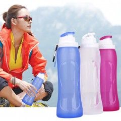 New Sale 500ml Travel Sport Size Flexible Eco-Friendly Folding Silicone Water Bottles rose red