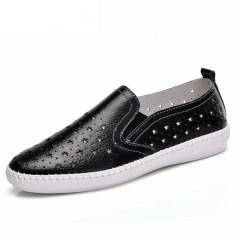 2017 New Summer Women's Shoes Genuine Leather Flats Shoes Female Casual Flat Woman Loafers Leather Black Flat