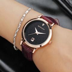 Fashion Star Dial Women Watches Luxury Golden Leather Ladies Watch Women Dres Black