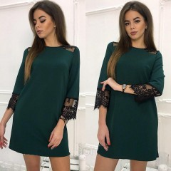 2018 Spring Summer 3/4 Sleeve Fashion Lace Stitching Casual Dress Women's O-Neck Loose Straight Dress Party Club Mini Dresses