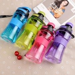 550ML Leak-Proof Seal Nozzle Sport Bicycle Plastic Water Bottles With Safe Material With Cover Lip rose red