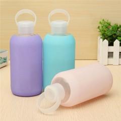 New Fashion Colorful 500mL Glass Water Bottle Glass Beautiful Gift Women Water Bottles Blue