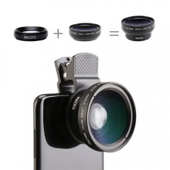 Mobile Phone Contact Lenses 0.45X Wide Angle Lens  15X Macro Lens Camera 2 in 1 Kits For iPhone Samsung Android Smartphone Black
