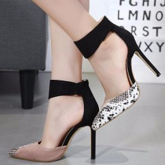Sexy Women High Heels Ankle Hook-Loop Pointed Toe Stiletto Pumps Ladies Banquet Party Shoes Woman Khaki 35