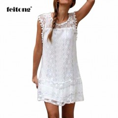 NEW Summer Beach Short Dress Tassel Mini Dress Women Casual Lace Sleeveless Dresses Vestidos