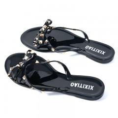 Summer Women Shoes Flip Flops Bow Tie Rivet Soft Pvc Beach Outdoor Flip Flops Women Slipper Shoes 1 6
