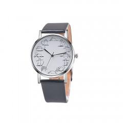 Lovely Cartoon Cat Leather Quartz Analog Women Watch Casual Ladies Watches Quartz Wristwatch Grey