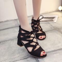 Summer women Shoes Fashion cross tied sandal zip woman heels lace up sandals office leisure black sandal 35