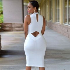Women White Sexy dress 2018 Summer Party Club Tank Dresses Hollow Out Plus size Clothes