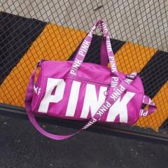 2018 Fashion girl stripe duffle bag beach printing letter PINK shoulder bag large capacity Purple771